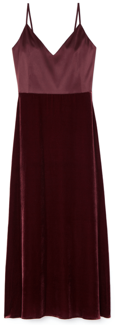 G. Label Chelsea satin and velvet slip dress