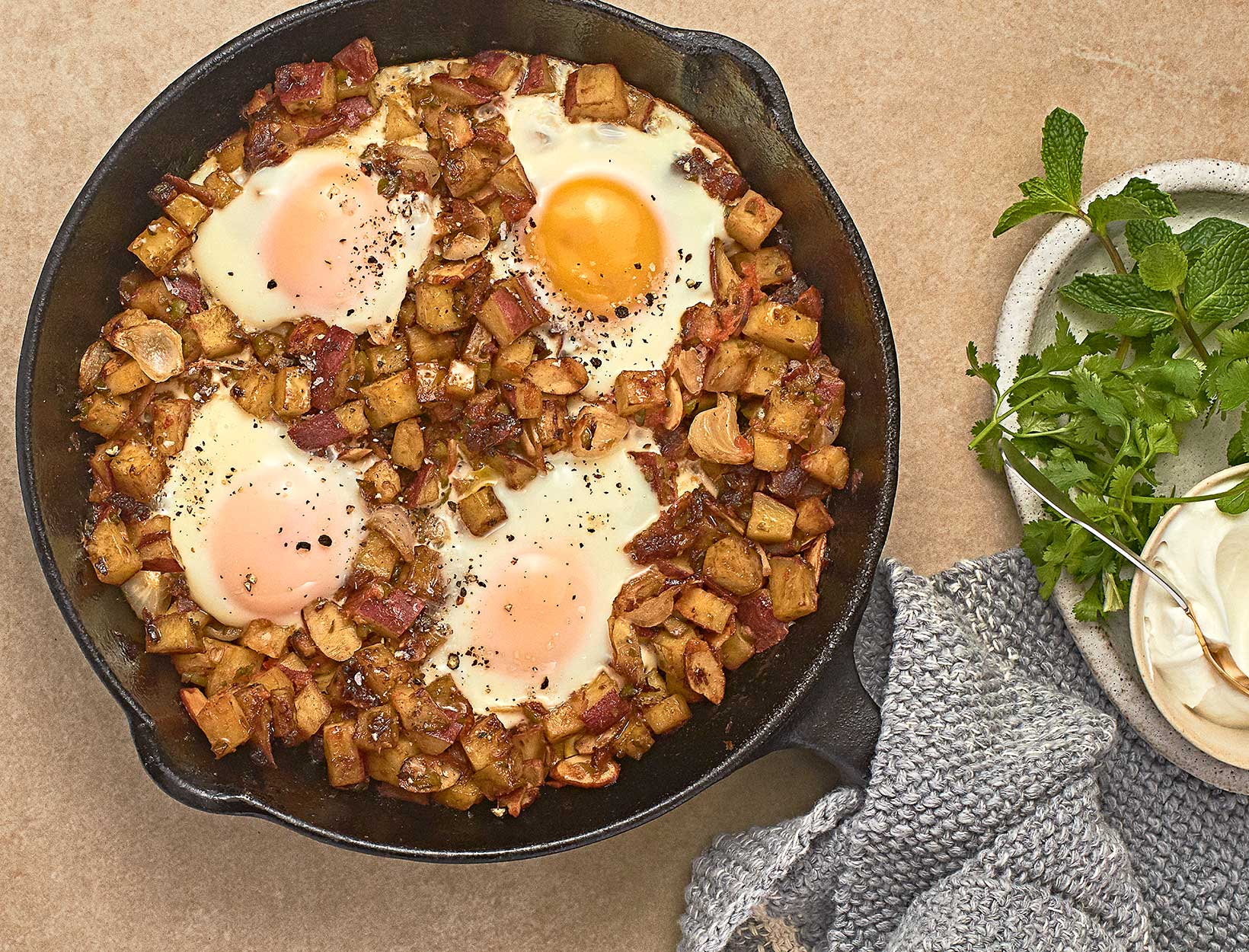 Skillet-Baked Eggs with Japanese Sweet Potato Hash