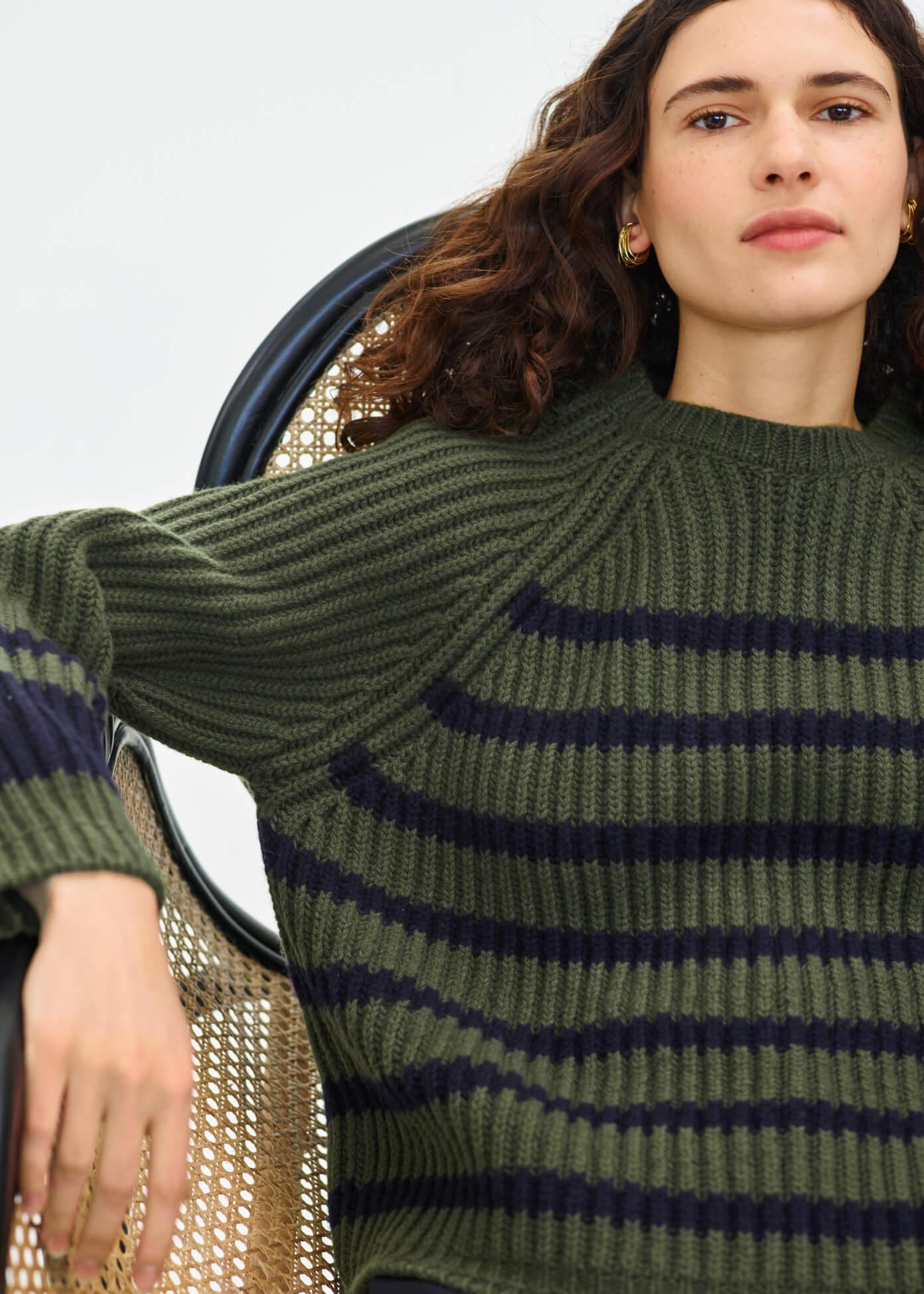 Miya Stand-Collar Rib Sweater