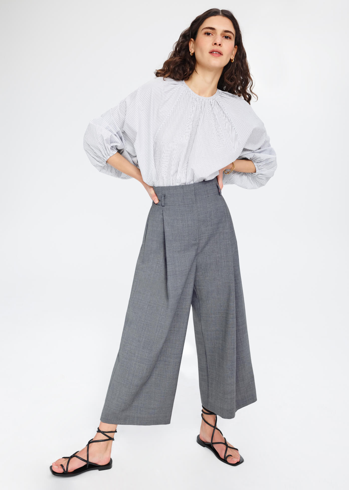 Vasquez High-Waisted Pleated Culottes