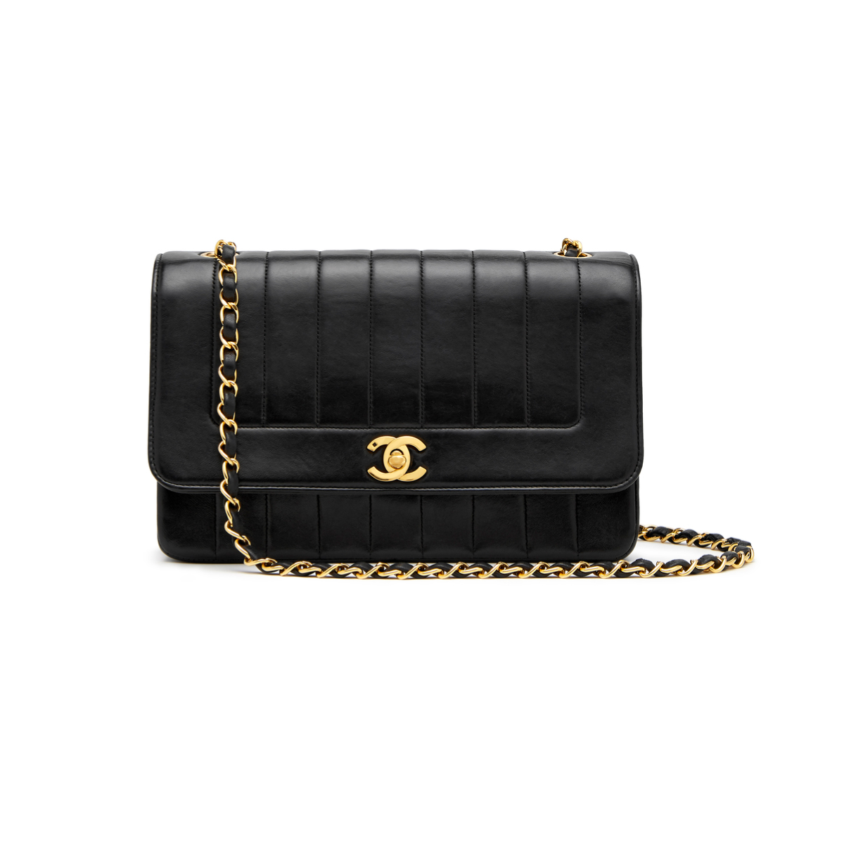 What Goes Around Comes Around CHANEL BLACK LAMBSKIN FLAP BAG, 10""