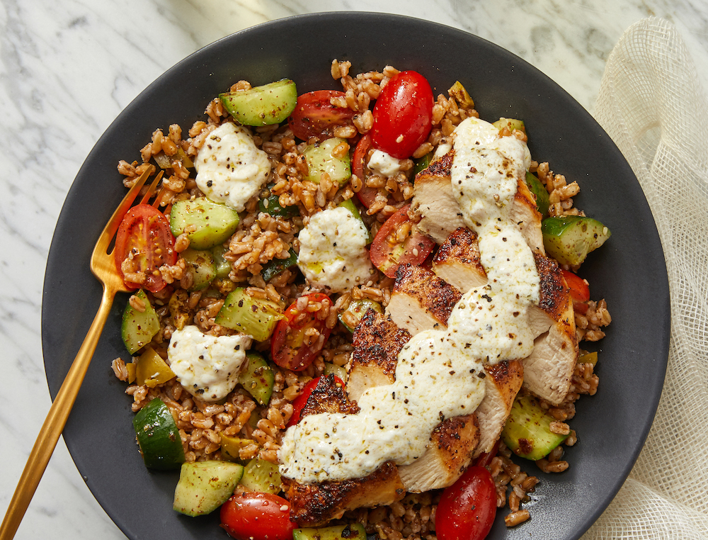 Za'atar-Spiced Chicken and Farro Salad with Lemon-Garlic Labneh