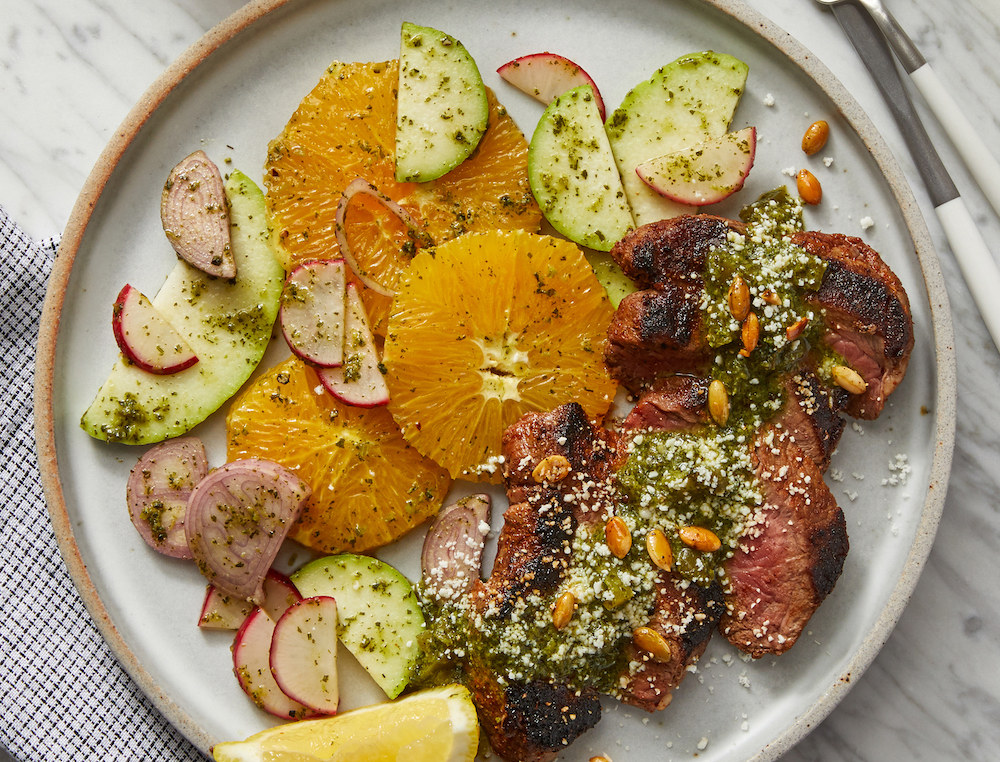 Mexican-Spiced Steaks with Cilantro Chimichurri and Chayote SquashSalad