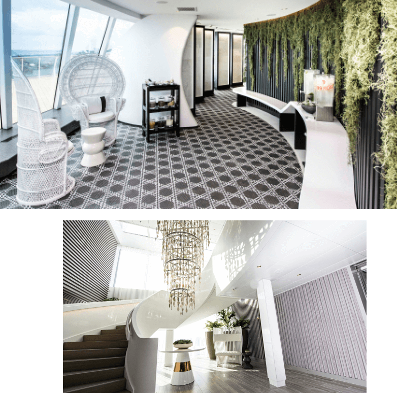 spa lounge and staircase