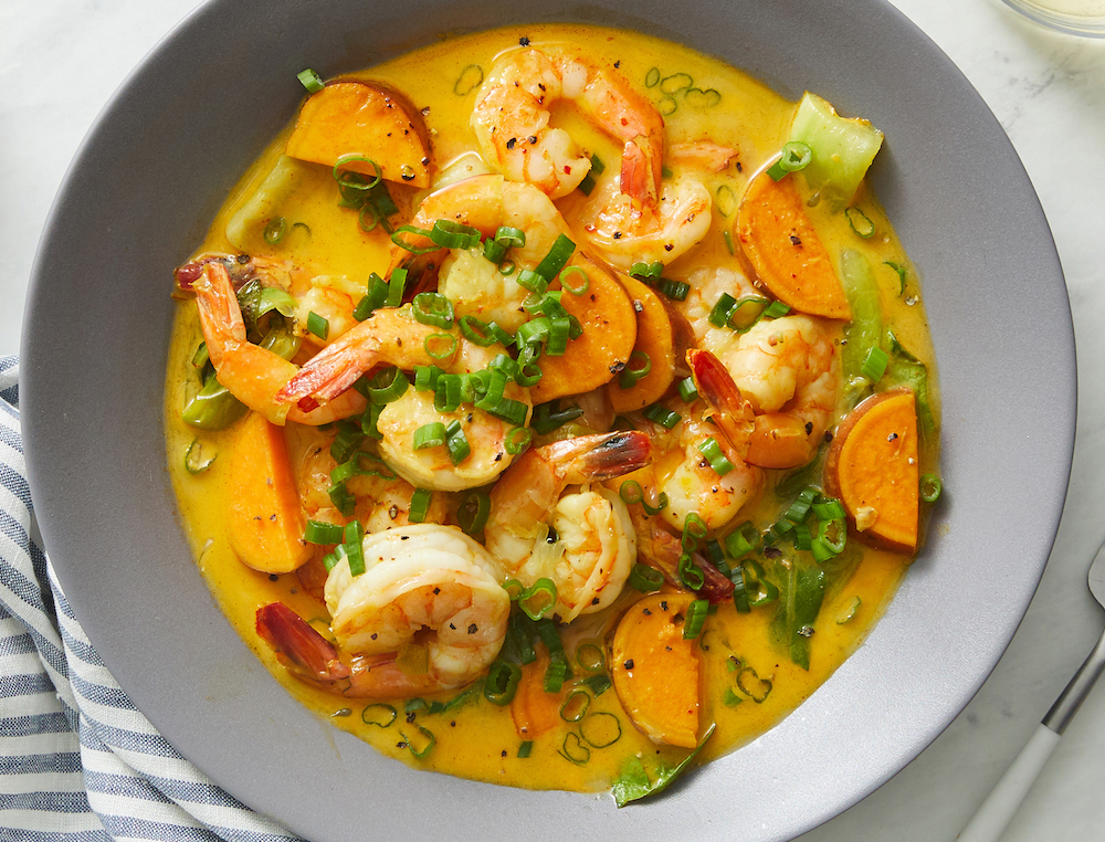 Shrimp and Sweet Potato Curry with Lemongrass and Coconut Milk