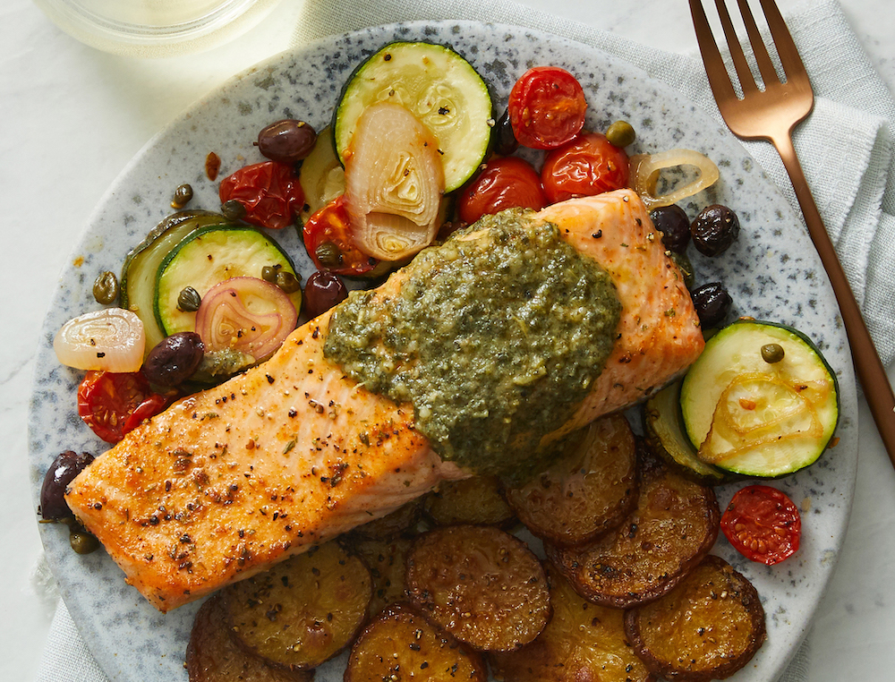 One-Pan Roasted Salmon and Vegetables with Olives, Capers, and Pesto