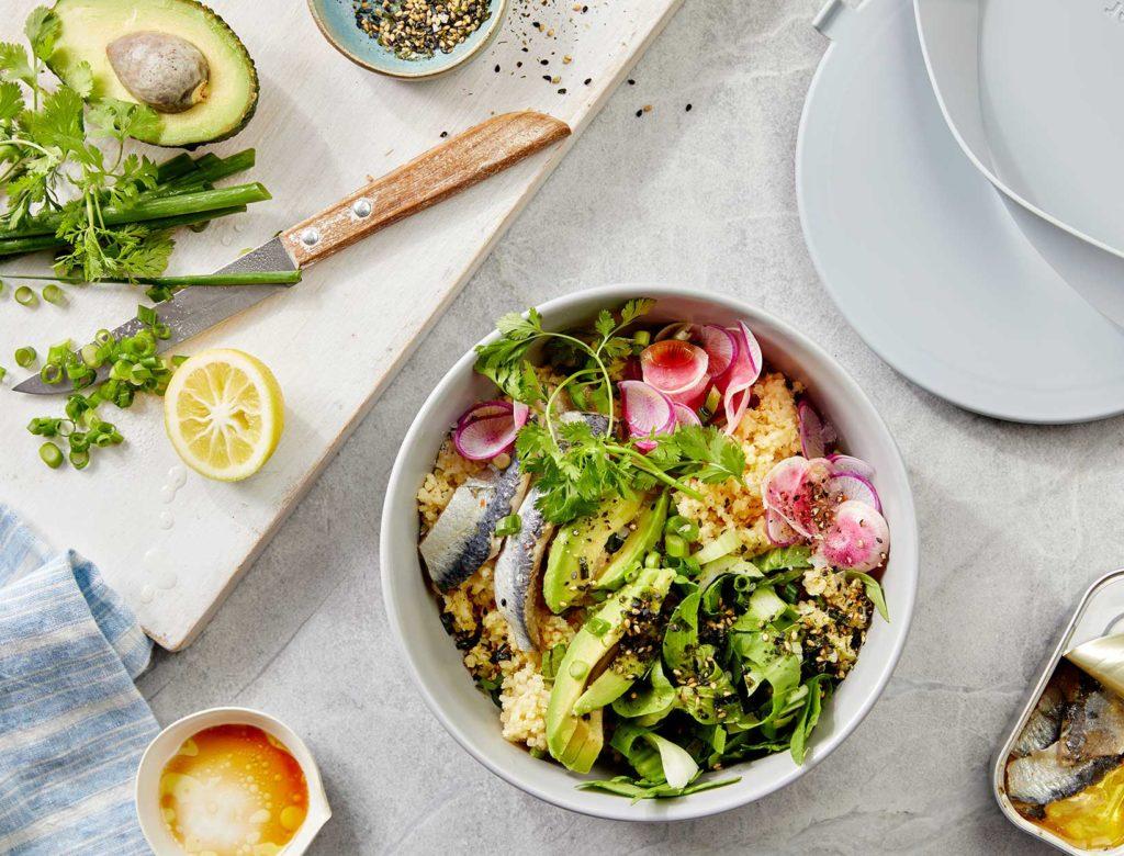 Sardine, Avocado, and Crunchy Veggie Millet Bowl