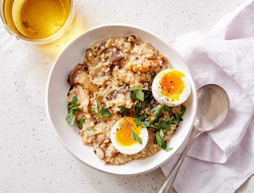 Savory Oats with Mushrooms and Egg