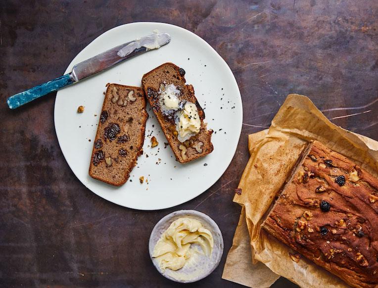 Buckwheat Banana Bread with Salty Butter
