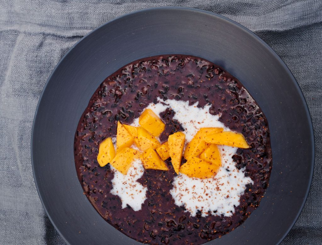 Black Rice Pudding with Coconut Milk & Mango