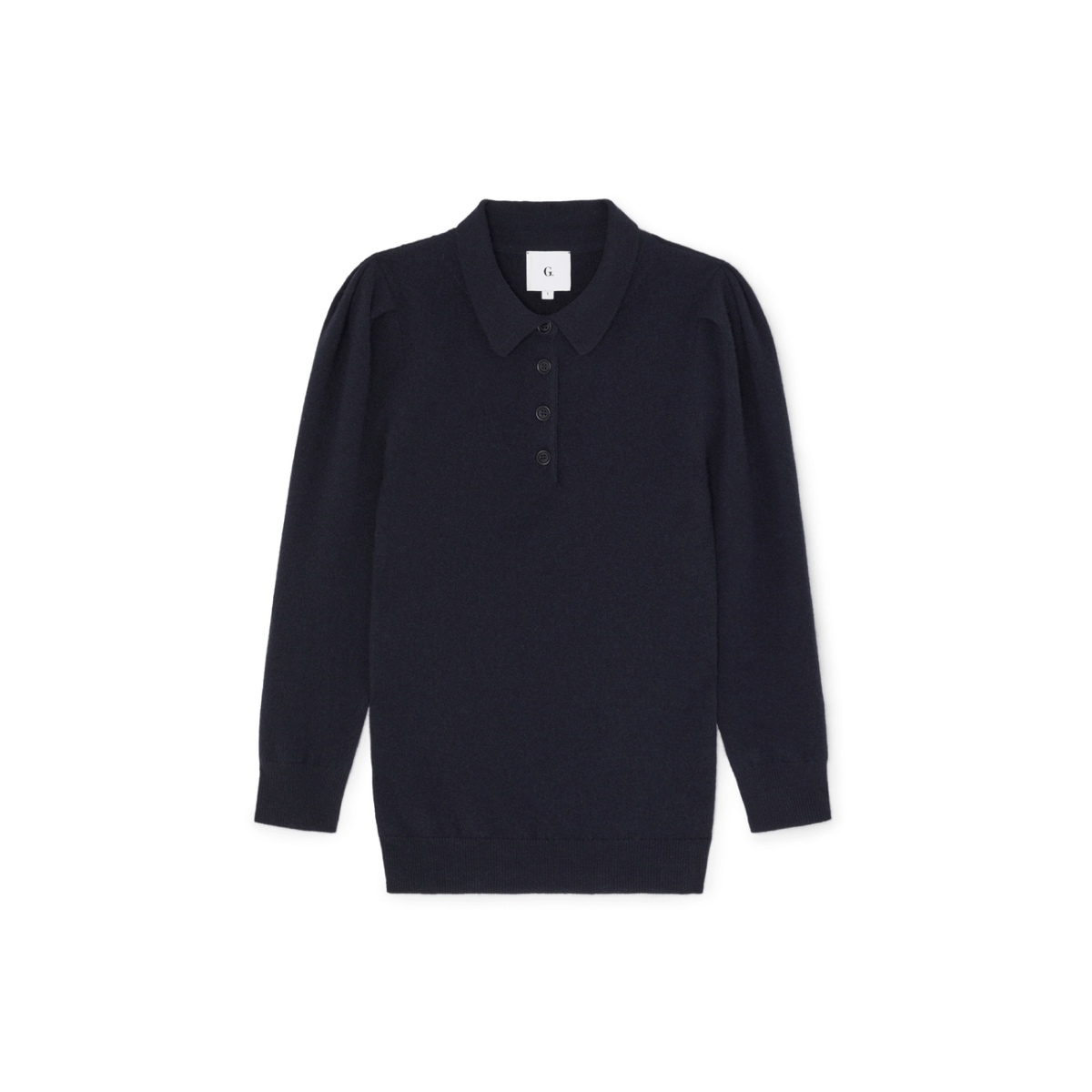 G. Label JAIMEE PUFF-SLEEVE POLO SWEATER