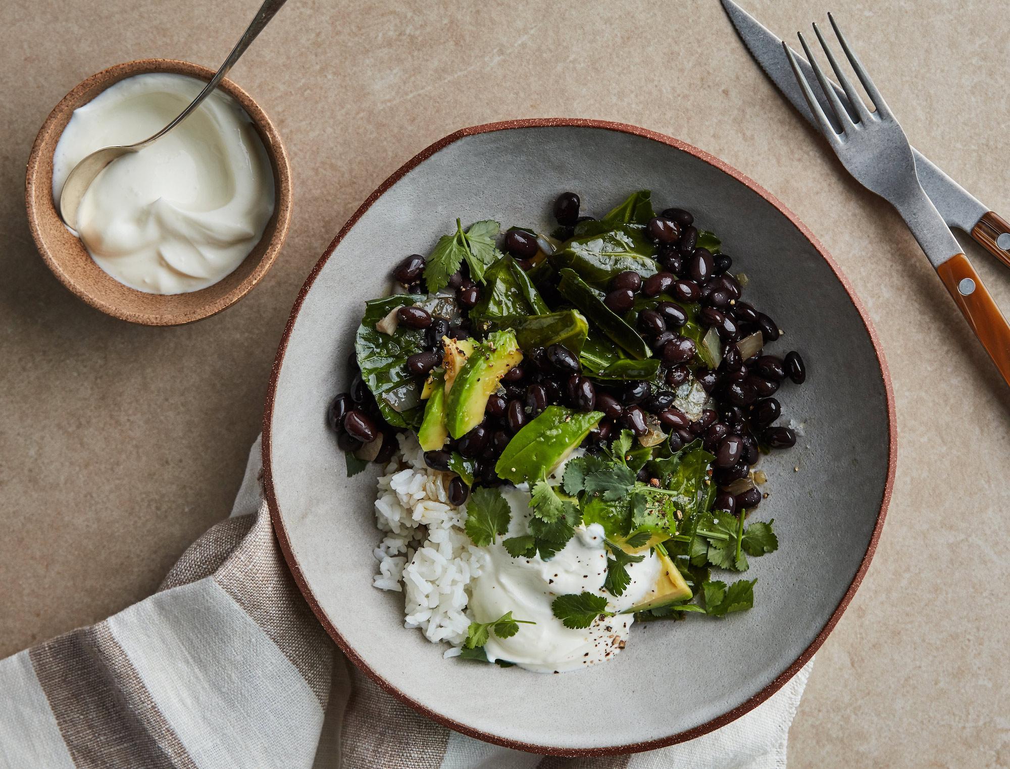 Smoky Black Beans and Vinegar-Braised Collards
