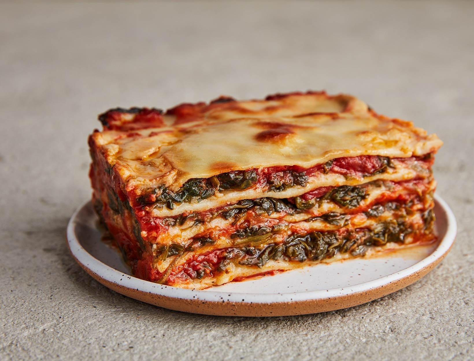 Easy Spinach Lasagna with Cauliflower Béchamel