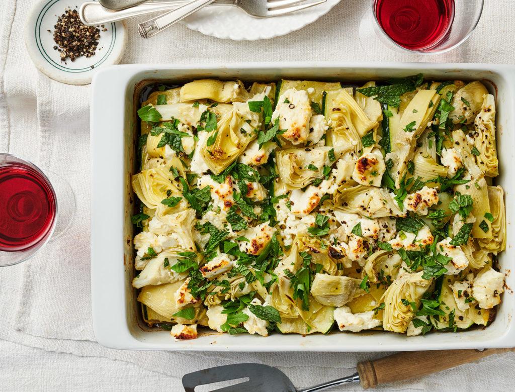 Greek Lasagna with Lamb, Zucchini, and Artichokes