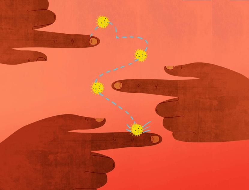 hands and virus illustration