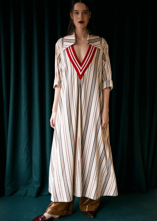 white dress with blue and red stripes