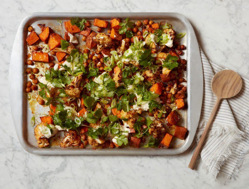 Harissa-Roasted Vegetables and Chickpeas with Tahini Yogurt