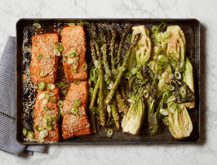 Miso Salmon with Bok Choy and Asparagus