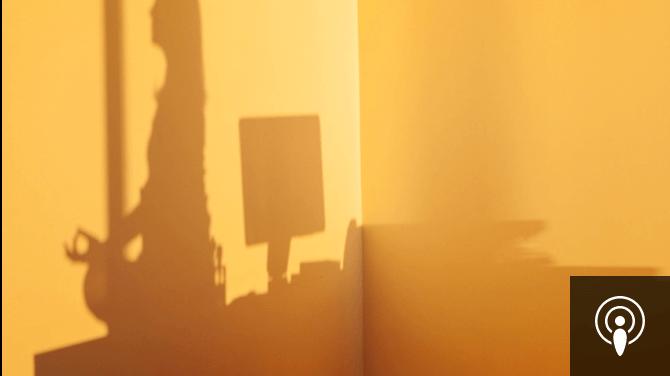 shadow of woman meditating