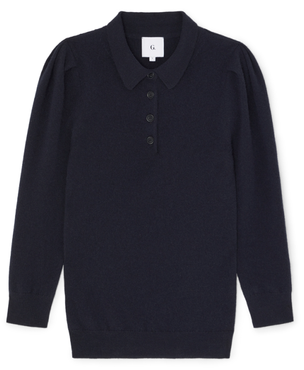 G. Label jaimee puff-sleeve polo sweater