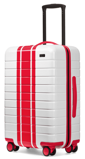 Away red and white suitcase