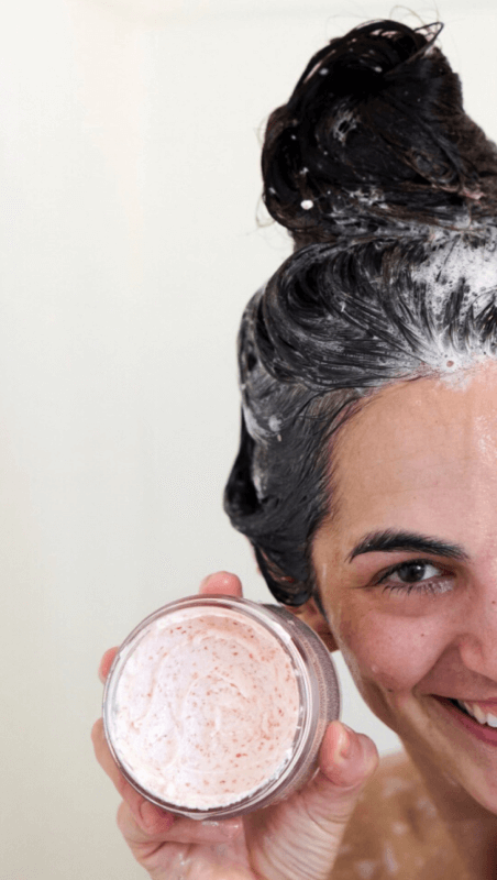 Renee Rupcich with G.Tox Himalayan Salt Scalp Scrub Shampoo