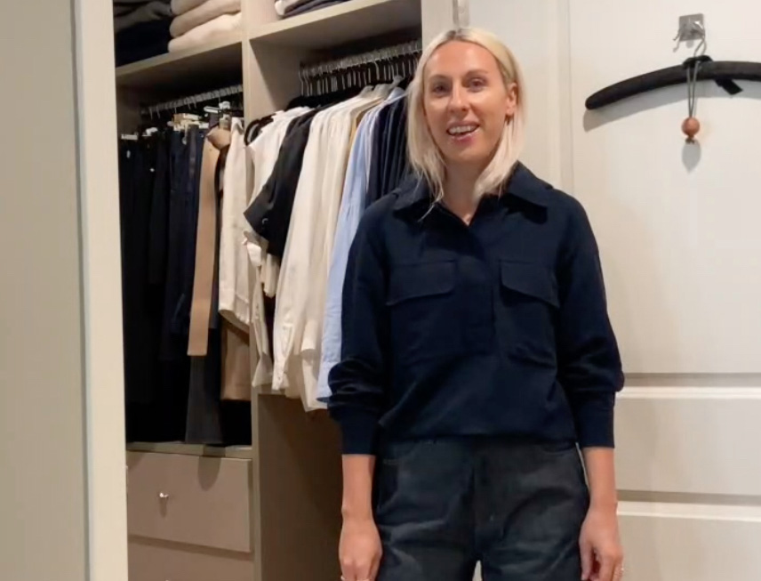 Ali in front of closet