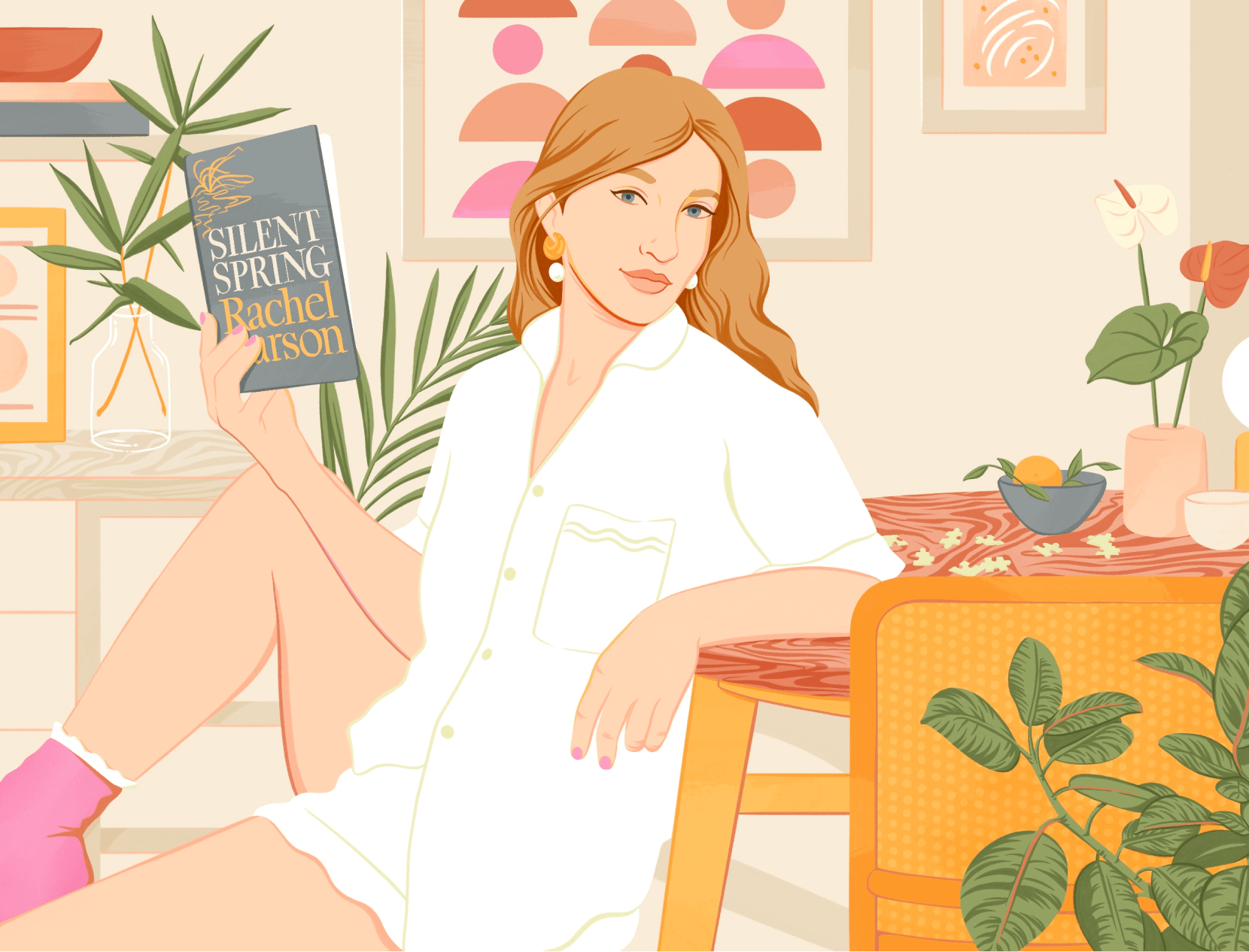 illustration of a woman holding a book