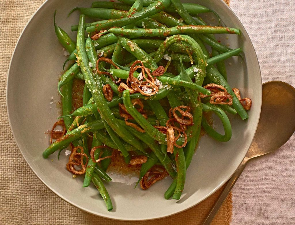 Green Beans in Spicy Brown Butter with Crispy Shallots