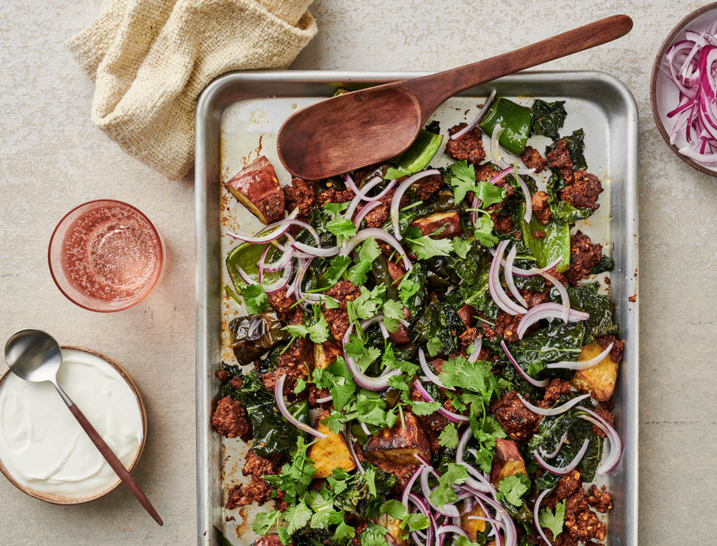 Sweet Potato, Kale, and Vegan Chorizo Sheet Pan Dinner
