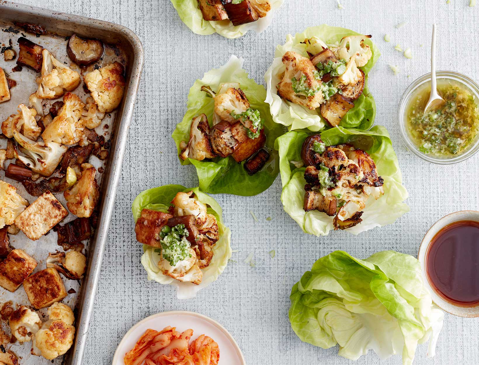 Eggplant, Cauliflower, and Tofu Ssam-Style Lettuce Cups