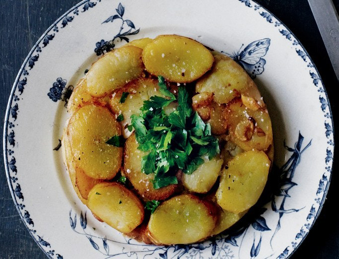 Crispy Potato Cake with Garlic and Parsley