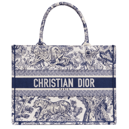 Dior Small Blue Multicolor Toile de Jouy Embroidered Book Tote
