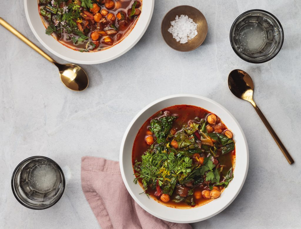 Beans and Greens Soup with Harissa