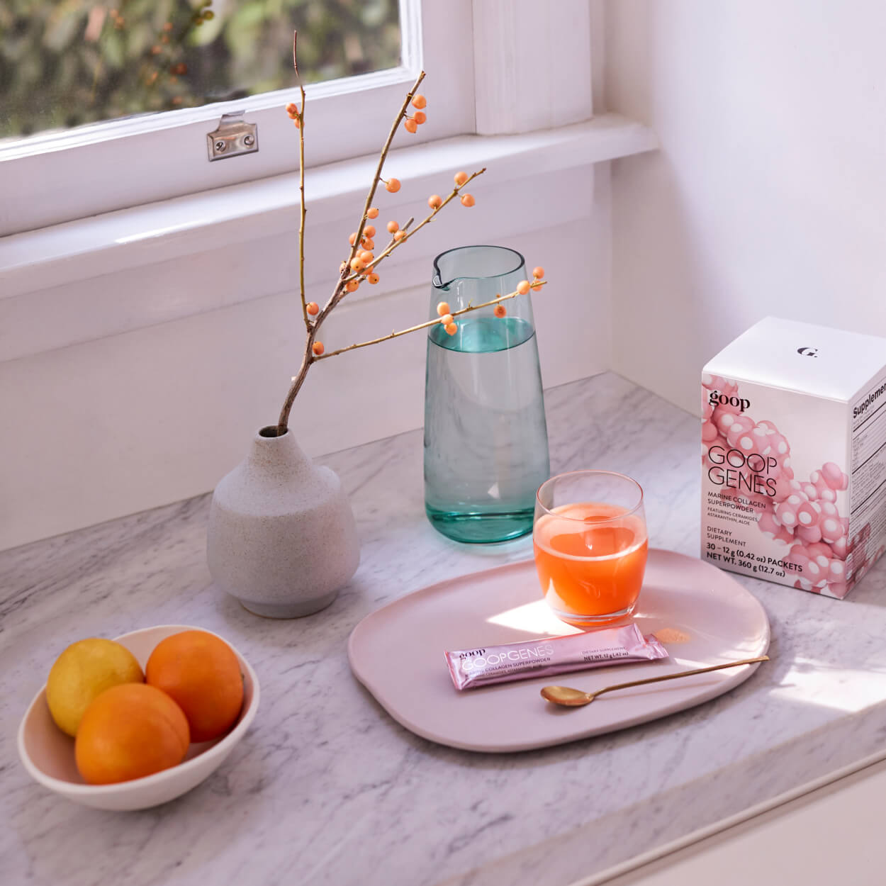 window sill with glass of goopgenes superpowder
