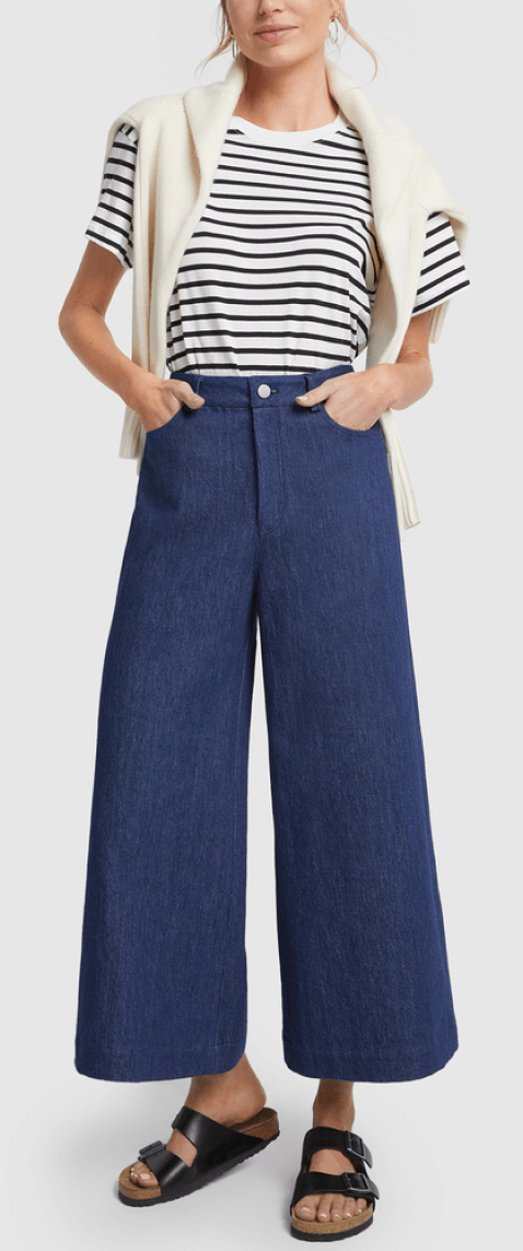 G. LABEL NOLAN WIDE-LEG DENIM CULOTTES