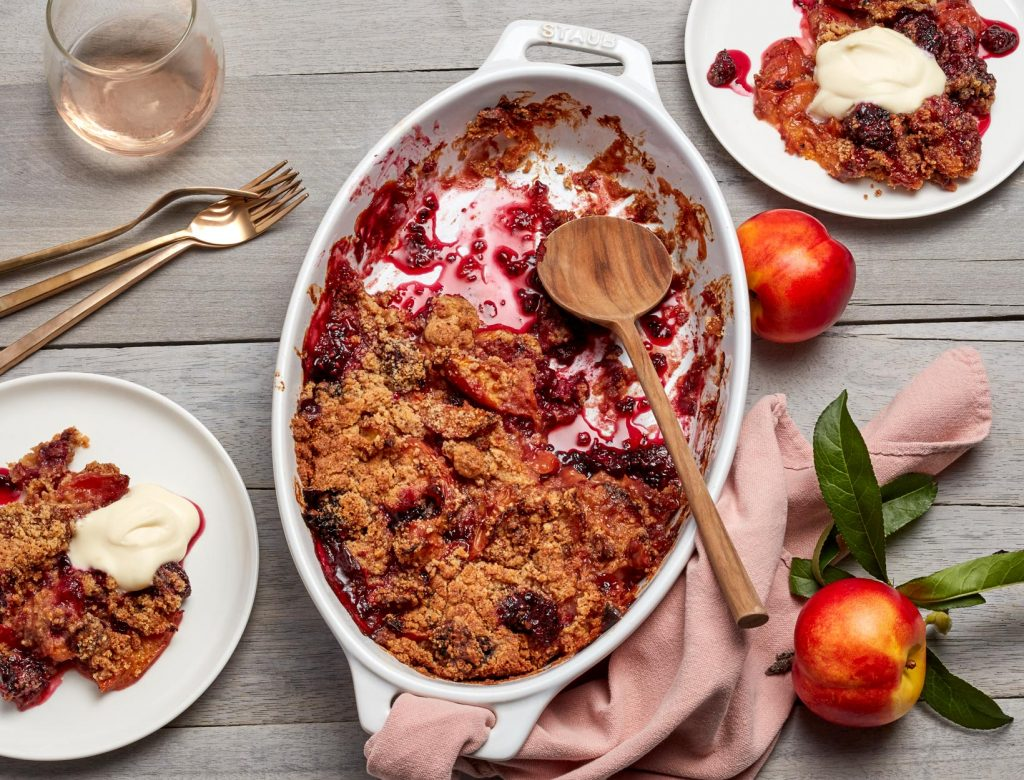 Nectarine and Blackberry Crisp
