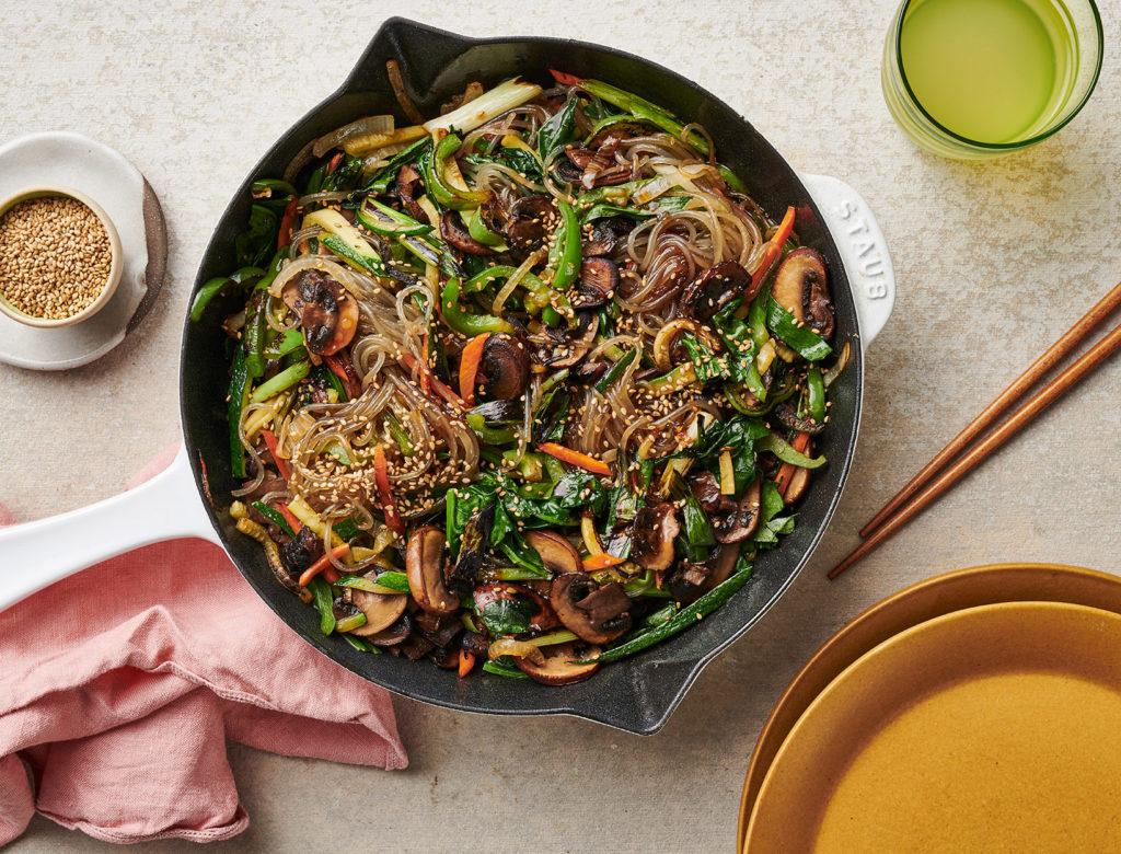 Korean Inspired Veggie and Noodle Stir-Fry