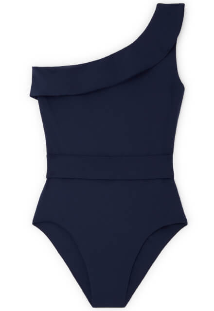 One-Shoulder Belted One-Piece