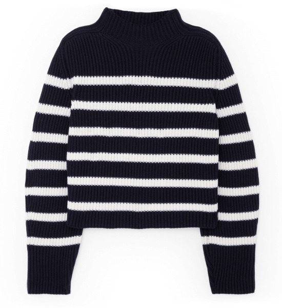 Lucy Striped Funnel-Neck Sweater