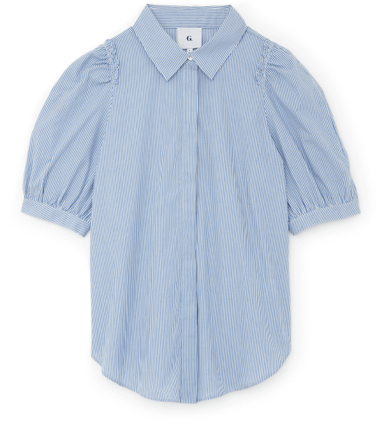 Nicole Puff-Sleeve Button-Down with Collar