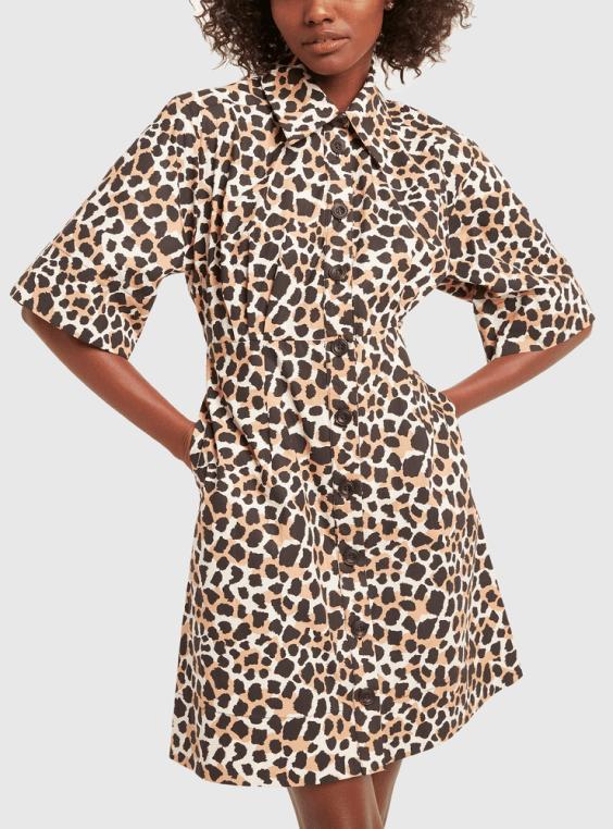 woman in leopard dress