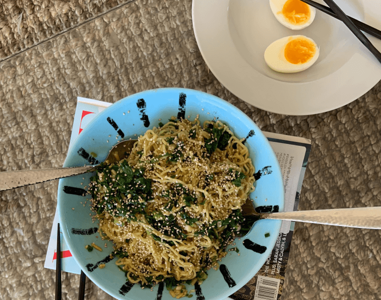 table with noodles