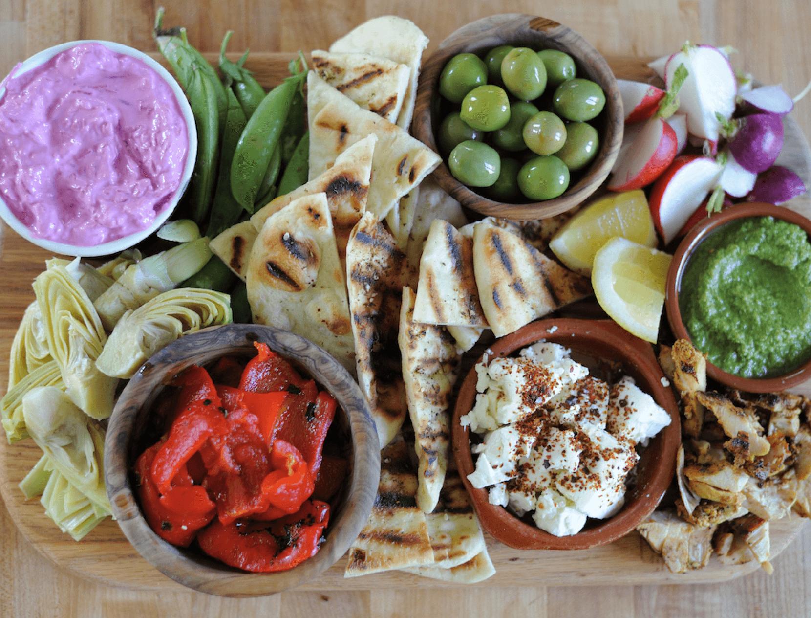 olives pita bread feta cheese snack board