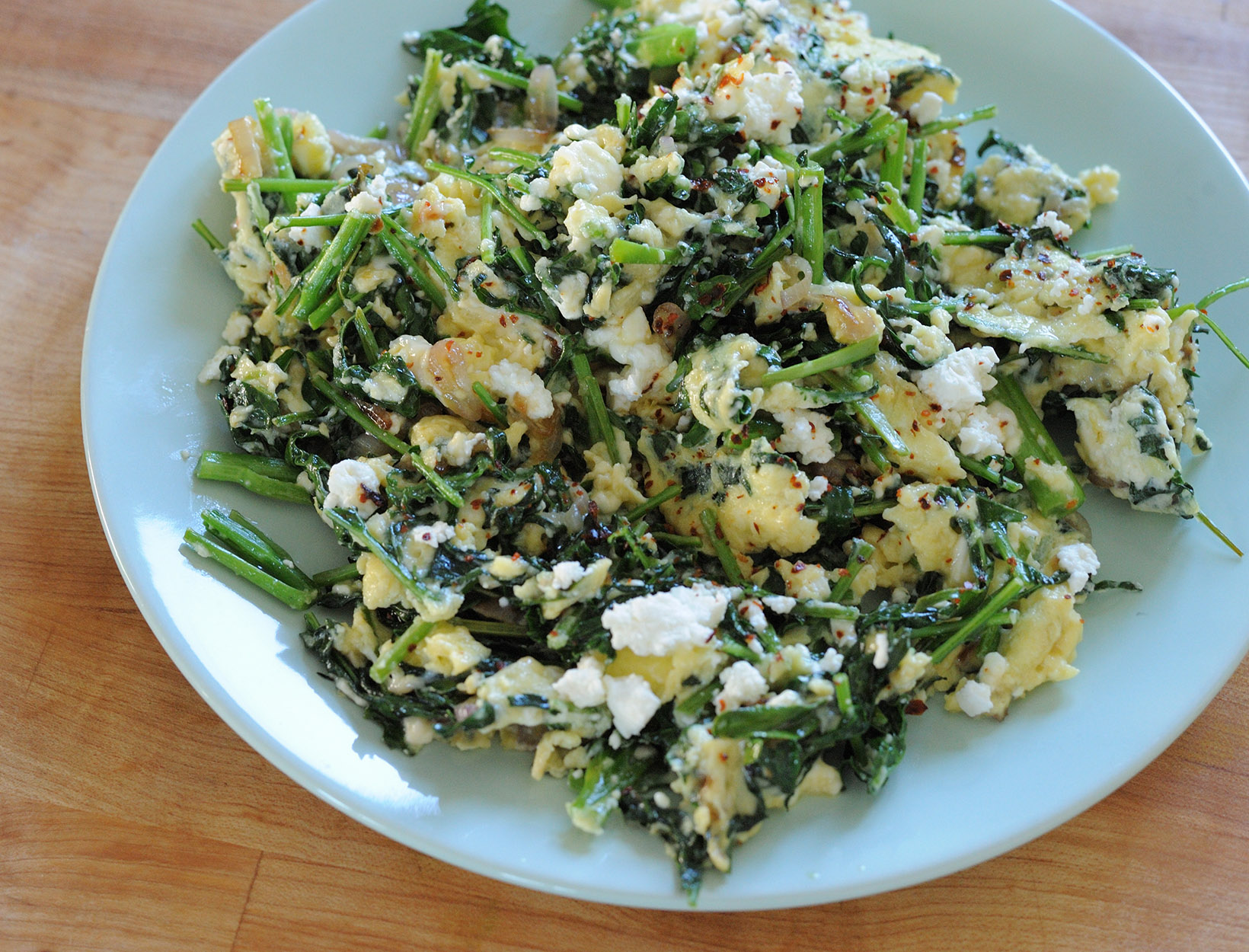Spigarello and Goat Cheese Scramble