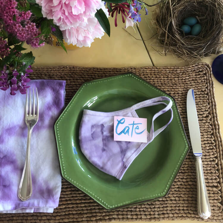 face mask on plate
