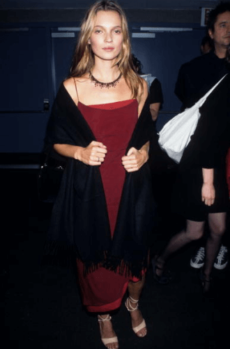 Uma Thurman in burgundy dress