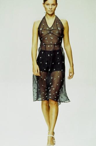 model on runway in sheer dress