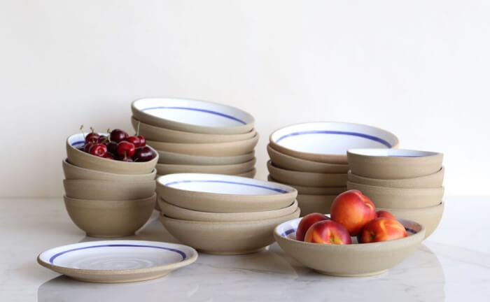 Jono Pandolfi Ceramics Blue Banded Dinnerware
