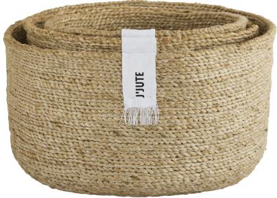 JJute Edition Round Set of 3 Jute Baskets Natural